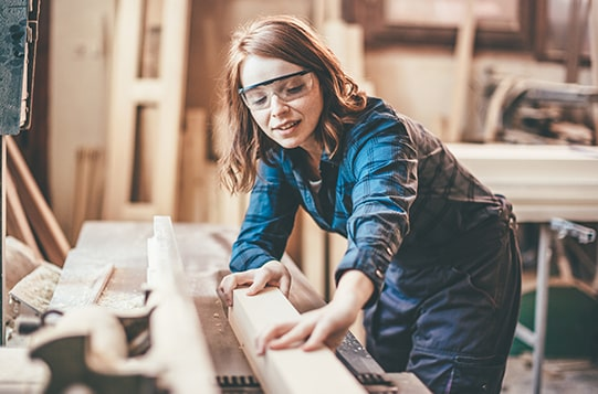woman working with wood