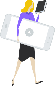 woman with mobile devices icon