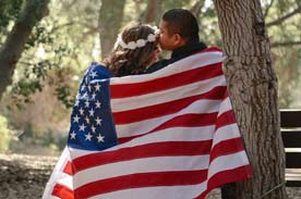Couple with American Flag