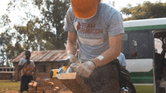 man working on construction project