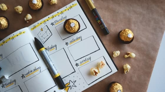 weekly planner with candy