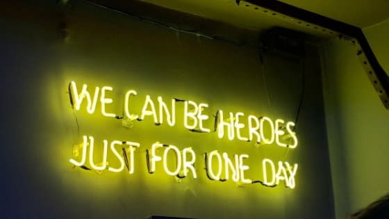 sign reading: we can be heroes just for one day
