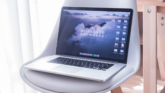 Macbook on a chair