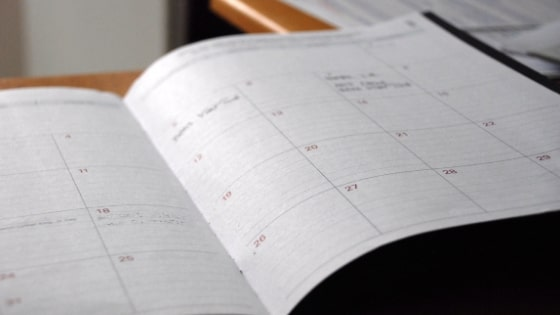 calendar open on desk