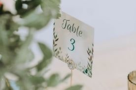 Table number card.